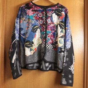 OOAK Asian Kabuki Print Quilted Collage Jacket L
